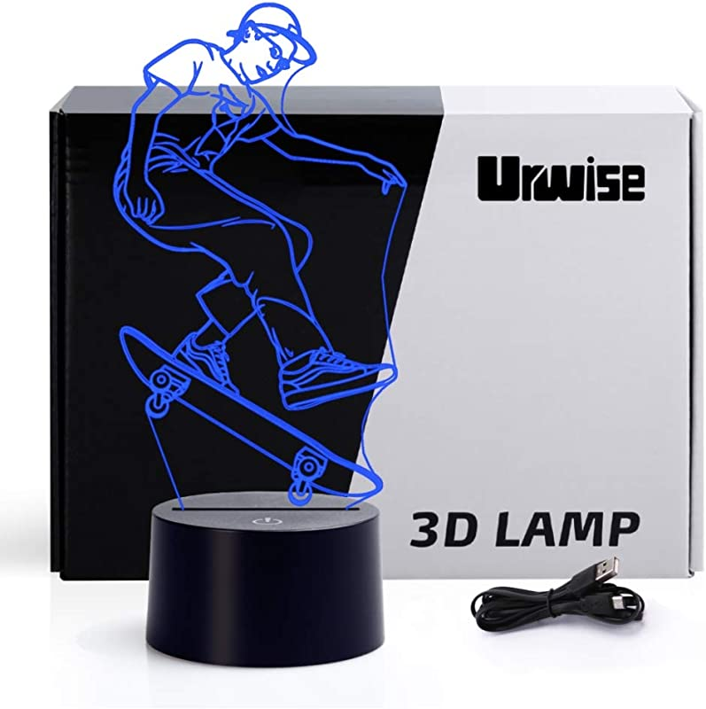 Children S Sports Skateboard 3D Illusion Night Light Touch Table Desk Lamp 7 Colors Optical USB LED Nightlight 4131