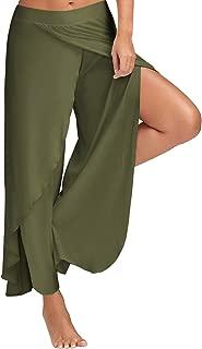 Women Cropped Pants High Split Flowy Layered Yoga Palazzo Pants