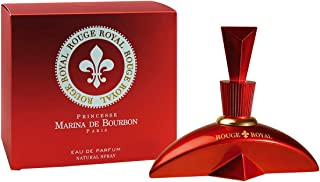 Rouge Royale by Princesse Marina de Bourbon | Eau de Parfum Spray | Fragrance for Women | Floral Fruity Scent with Notes of Strawberry, Lime, and Jasmine | 100 mL / 3.4 fl oz, red