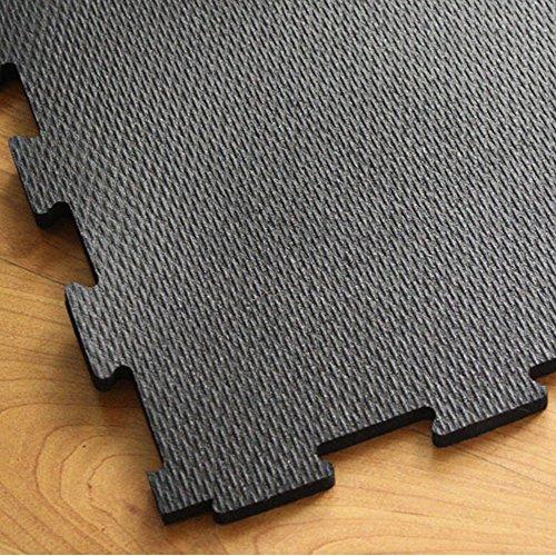 IncStores Extra Large 4'x4' Heavy Duty Rubber Gym Flooring Tiles (1/2' Center, Black)