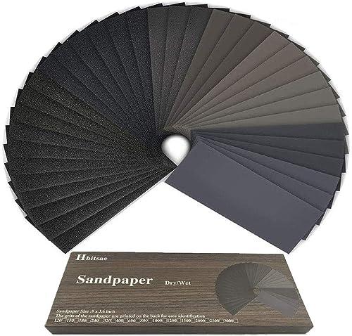 Papier de verre, 120 à 3000 Grain Papier abrasif eau/sec 9 x 3,6 pouces, Utilisé pour polir le métal, le bois, les vo...