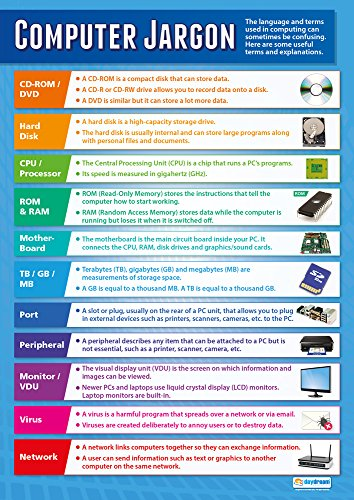"""Computer Jargon  Technology and Computing Posters  Gloss Paper Measuring 33"""" x 235""""  ICT Charts for The Classroom  Education Charts by Daydream Education"""