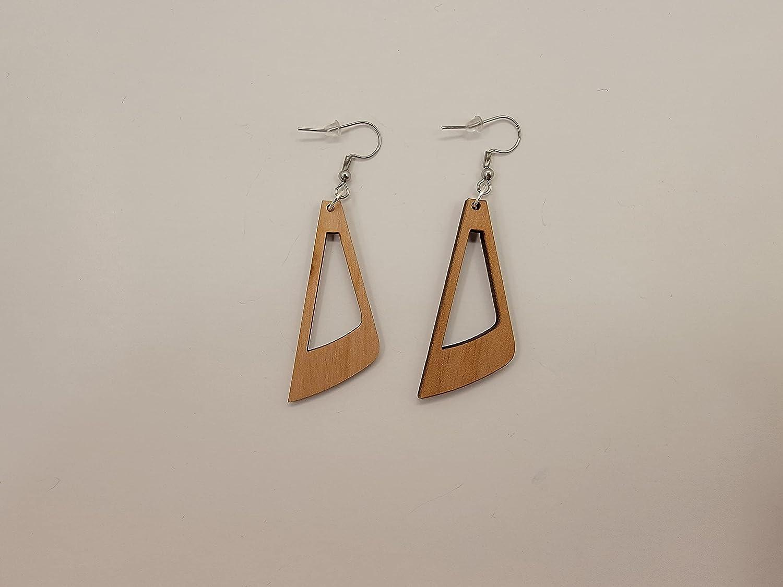 El Paso Mall Dangle Design 3 Laser Cut Alder Style Earrings Hook 4 years warranty Wood Satin