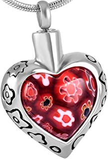 Mini-Colorful Flowers Pendant Glass Cremation Urn Keepsake Stainless Steel Memorial Jewelry +Free 20 Inch Chain (Sliver 2)