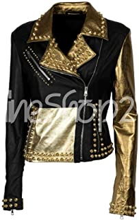 New Motorcycle Philipp Plein Spiked Full Golden Studded Genuine Cowhide Black Brando Leather Jacket for Women