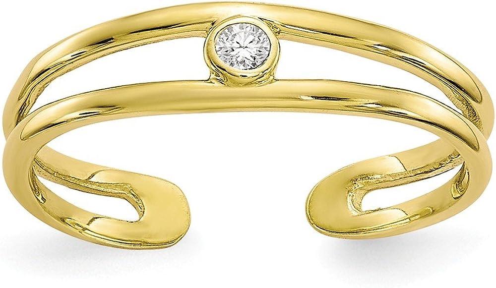 Black Bow Jewelry Split Shank Cubic Zirconia Toe Ring in 10K Yellow Gold