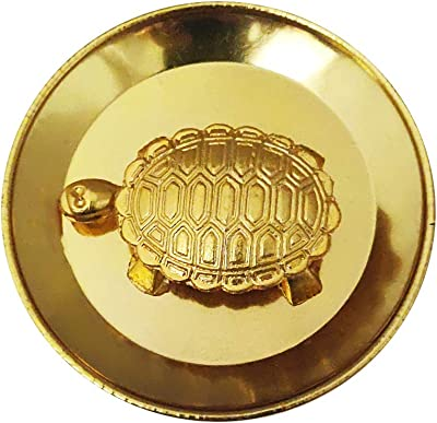 Divya Mantra Feng Shui Panchdhatu 1.5 Inch Tortoise/Turtle with 2.25 Inch Diameter Water Plate; Vastu Living Positivity, Wealth, Money, Good Luck & Longevity; Home, Office Decor Gift Items/Products