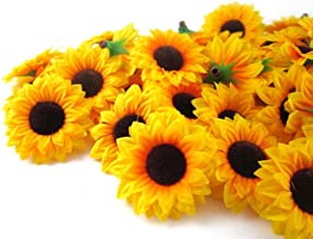 ELEOPTION 100PCS Beautiful Artificial Flowers Yellow Sunflowers Sun Flower Heads for Embellishing Weddings, Parties, Hair Clips, Headbands, Hats, Clothes, Bows, Craft Work