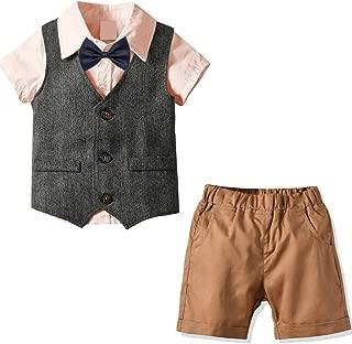 Nwada Little Boys Business Suit Pants Sets Vest Pants Button Down Dress Shirt Bow Tie 4pcs