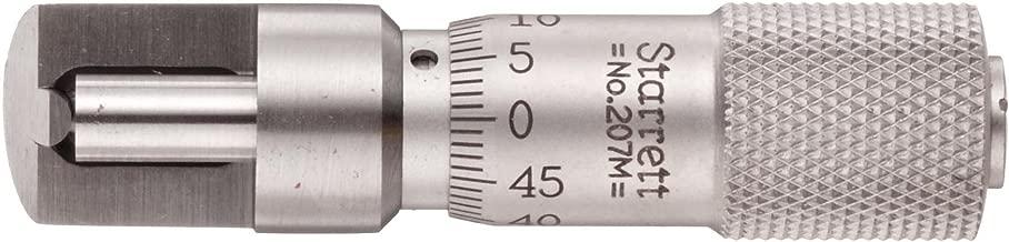 Starrett 207MZ Can Seam Micrometer, Plain Thimble, 0-9.5mm Range, 0.001mm Graduation, Snub Nose for Aerosol Cans