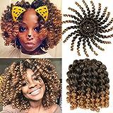 6 Pcs Jumpy Wand Curl Twist Crochet Braid Jamaican Bounce African Synthetic Braiding Hair High Temperature Fiber 8 Inch 20strands T27