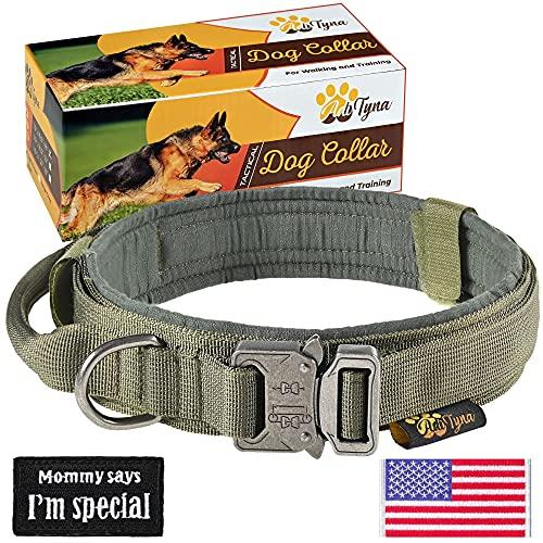 Taktisches Hundehalsband - Strapazierfähiges Hundehalsband - Verstellbares Hundehalsband mit Griff - Training und Service Hundehalsband für Deutschen Schäferhund (L, Grün)