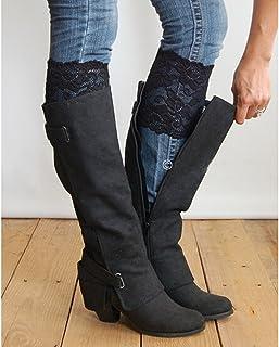 WT-DDJJK, WT-DDJJK Calcetines de Encaje, Moda para Mujer, puños de Bota de Encaje elásticos, Calentadores de piernas con Flores, Adornos de Encaje, Primeros Calcetines