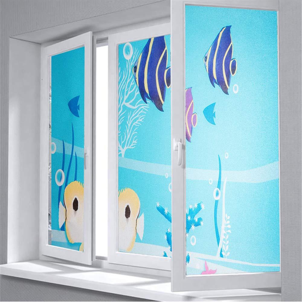 Shackcom Vinilo Película de Ventana Privacidad Pegatina 60 * 200cm-sin Adhesivo-Decorativas para Electrostatica Translucido Anti UV Cristal Laminas para Hogar Cocina Baño y Oficina-F02SP: Amazon.es: Hogar