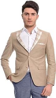 Wessi Sand Beige Cotton Slim Fit Mens Blazer with Check Lapel