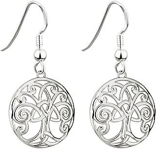 Tara Irish Jewelry Earrings for Women Tree of Life Earrings Rhodium Plated Made in Ireland