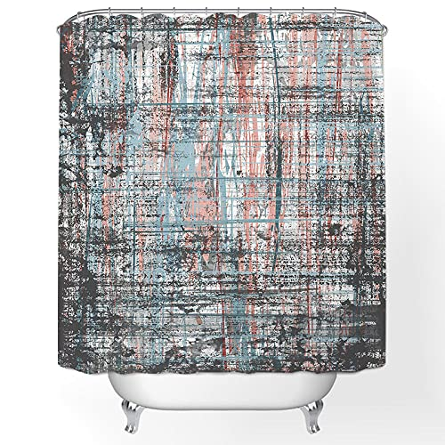 Duschvorhang 180x200 Graublauer Druck Shower Curtains Anti-Bakteriell Duschvorhang Antischimmel Waschbar Duschvorhänge Polyester mit 12 Duschvorhangringen Duschvorhang Grau