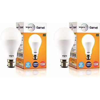 Wipro Garnet Base B22 15-Watt LED Bulb (Pack of 2, Cool Day Light)