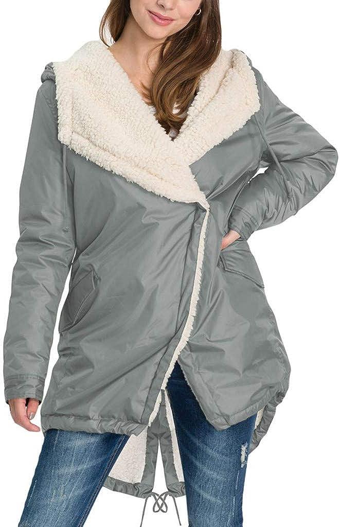 Long Windbreaker Jacket Women, NRUTUP Winter Jacket Thickened Fleece Padded Puffer Jacket Hooded Ladies Outwear