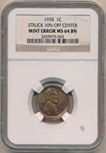 1935 P Lincoln Cent Error MS64 NGC