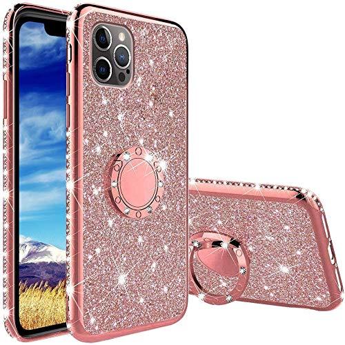 OUJD Glitter Funda para iPhone 12 / iPhone 12 Pro, Brillante Diamante Bling Carcasa, 360 Grados Anillo Iman Soporte Magnético con Silicona TPU Resistente Anti-Rasguños - Rosa