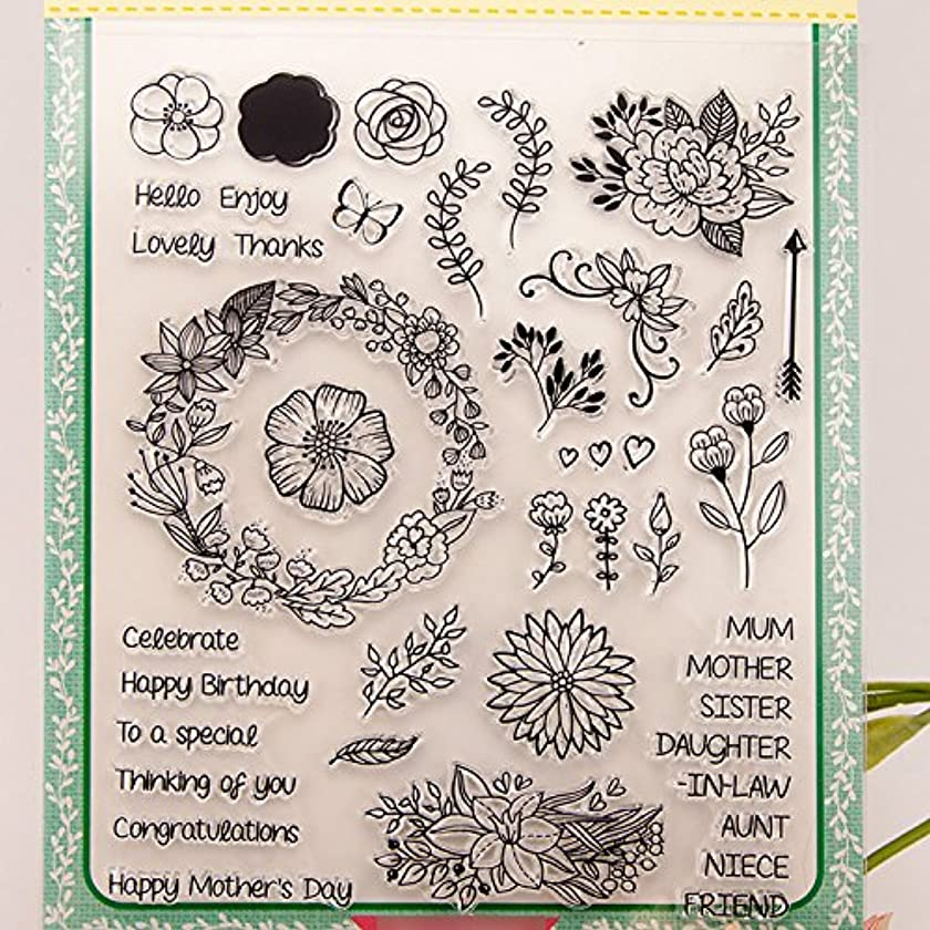 DzdzCrafts 8 by 9-Inch Floral Flower Garland Branch Sentiments DIY Clear Stamps For Card Making Scrapbooking Album