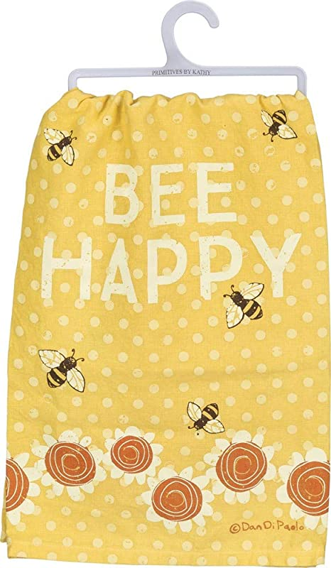 Primitives By Kathy Charming Kitchen Dish Towel Bee Happy Yellow