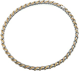 Men Women Gold Silver Titanium Steel Magnetic Therapy Chain Necklace for Neck Arthritis Headaches Pain