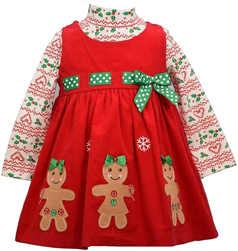 Bonnie Jean Holiday Christmas Dress f Raleigh Mall - Corduroy Red Max 54% OFF Gingerbread