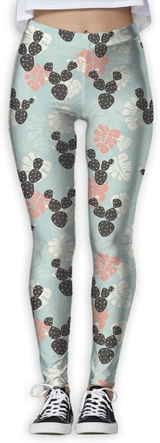 Tropical Pattern with Monstera Beautiful Women Skinny Tights Active Yoga Running Pants Workout Leggings