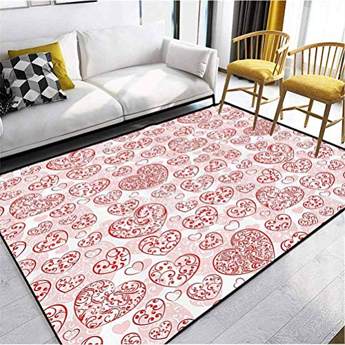 Love Decor Collection Girls Room Rugs Easy to Clean Stain Fade Resistant Super Soft Big and Small Hearts Artful Curly Lines Flower Antique Feminine Stylish Party Picture Red and White 6 x 2.5 ft