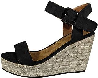 Sandale Femme Espadrille Plateforme Compensé Chaussure Pas Cher Alaso Lanière Cheville Escarpins Femmes d'été Plage Vacanc...
