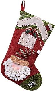 Padaleks Christmas Stockings Cute Santa Claus Snowman Socks Plush Applique Elk Hanging Decor Candy Socks Gifts Bag