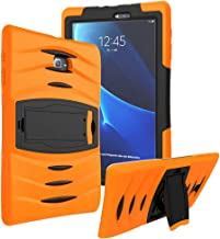KIQ Galaxy Tab A 8.0 2015 T350 Case, Full-Body Shockproof Military Heavy Duty Case Cover Screen Protector Stand Samsung Galaxy Tab A 8.0 SM-T350 SM-T355 (2015) (Armor Orange)