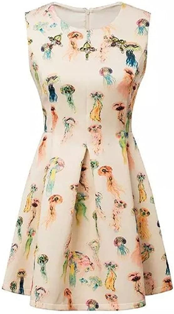 Women's Inlaid Gem Colorful Jellyfish Slim Round-Neck Sleeveless Pleated Dress