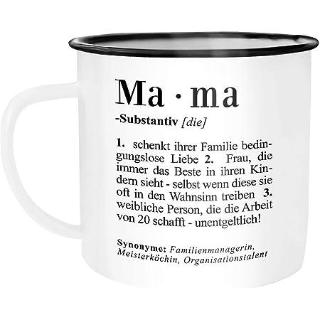 Emaille Tasse Becher I love my Mom Mutter Mama Liebe Giraffen Camping Outdoor