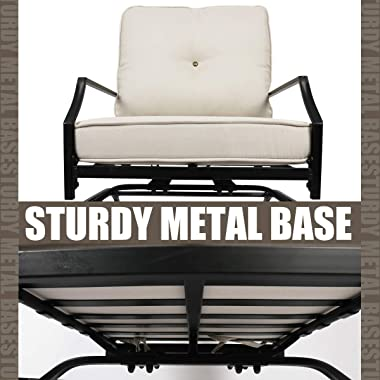 Rocking Patio Festival Chairs Outdoor, Metal Furniture Motion Spring Patio Chair Set of 2 with Elasticity Seat Cushions and B