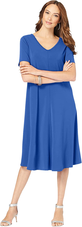 Roamans Women's Plus Size Ultrasmooth Fabric V-Neck Swing Dress Stretch Jersey Short Sleeve V-Neck