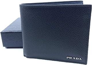 01ab3b2d6114 Prada Portafoglio Black Nero Baltico Blue Vitello Micro Grain Leather Wallet  2MO513