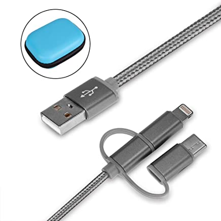 Cdyiswu Multi Charging Cable, 3 in 1 Premium Nylon Braided Multiple USB Cable Fast Charging Cord Support Data Transfer Compatible Mobile Phones Tablets and More (3.3ft) (Silver)