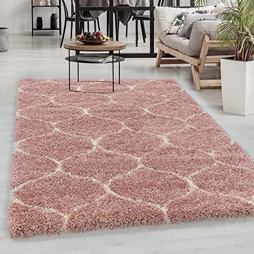 Carpetsale24 Hochflor Teppich » SALXA «, Wohnzimmerteppich, Kachel Muster, Rechteckig, ROSA, Maße:240 cm x 340 cm