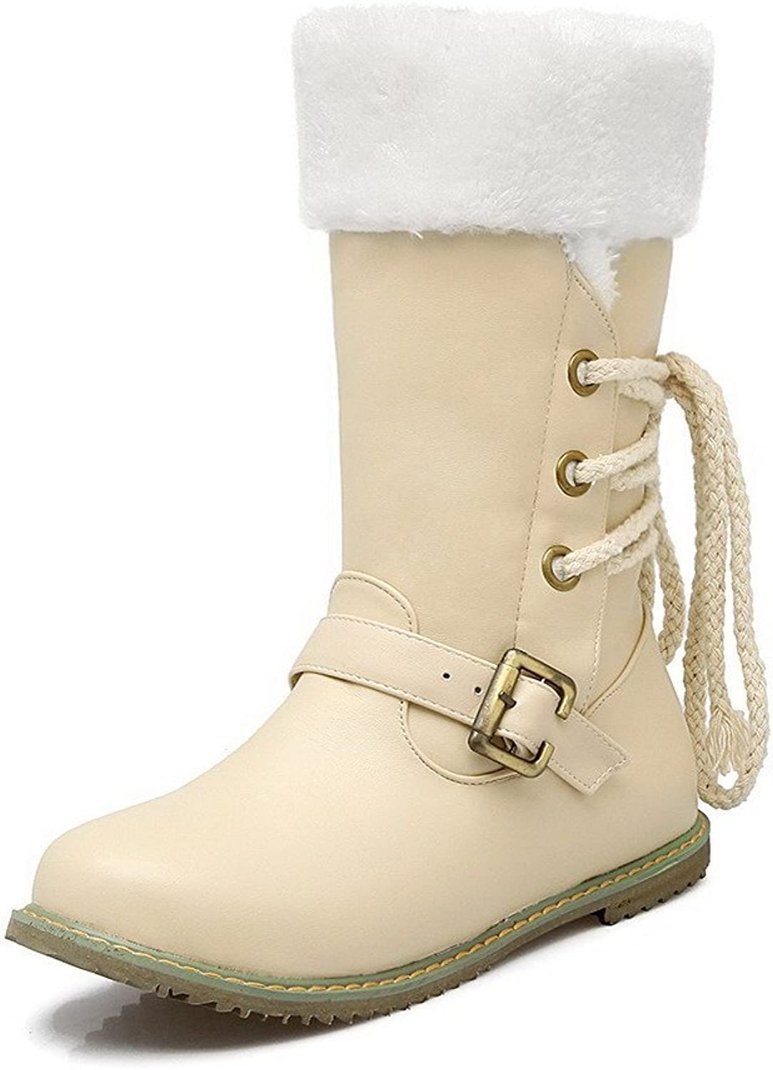 AmoonyFashion Women's Pull-On Low-Heels PU Solid Low-Top Boots