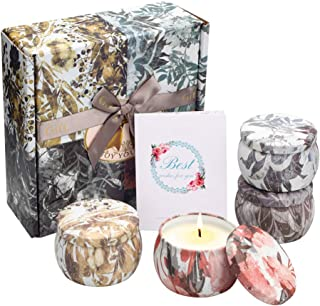 YINUO MIRROR Scented Candles Gift Set, Soy Wax 4.4 Oz Portable Travel Tin Candles Women Gift with Strongly Fragrance Essen...