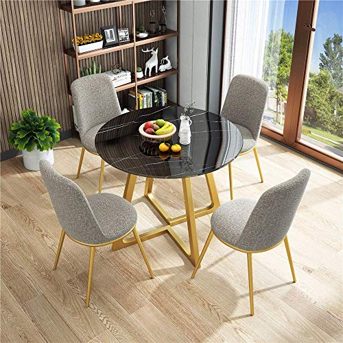 N/Z Daily Equipment Fabric 5 Piece Modern Vintage Home Table Chair Round Negotiating Combination Simple Reception Leisure Coffee Sofa Seat Office Lounge (Color : Gray)