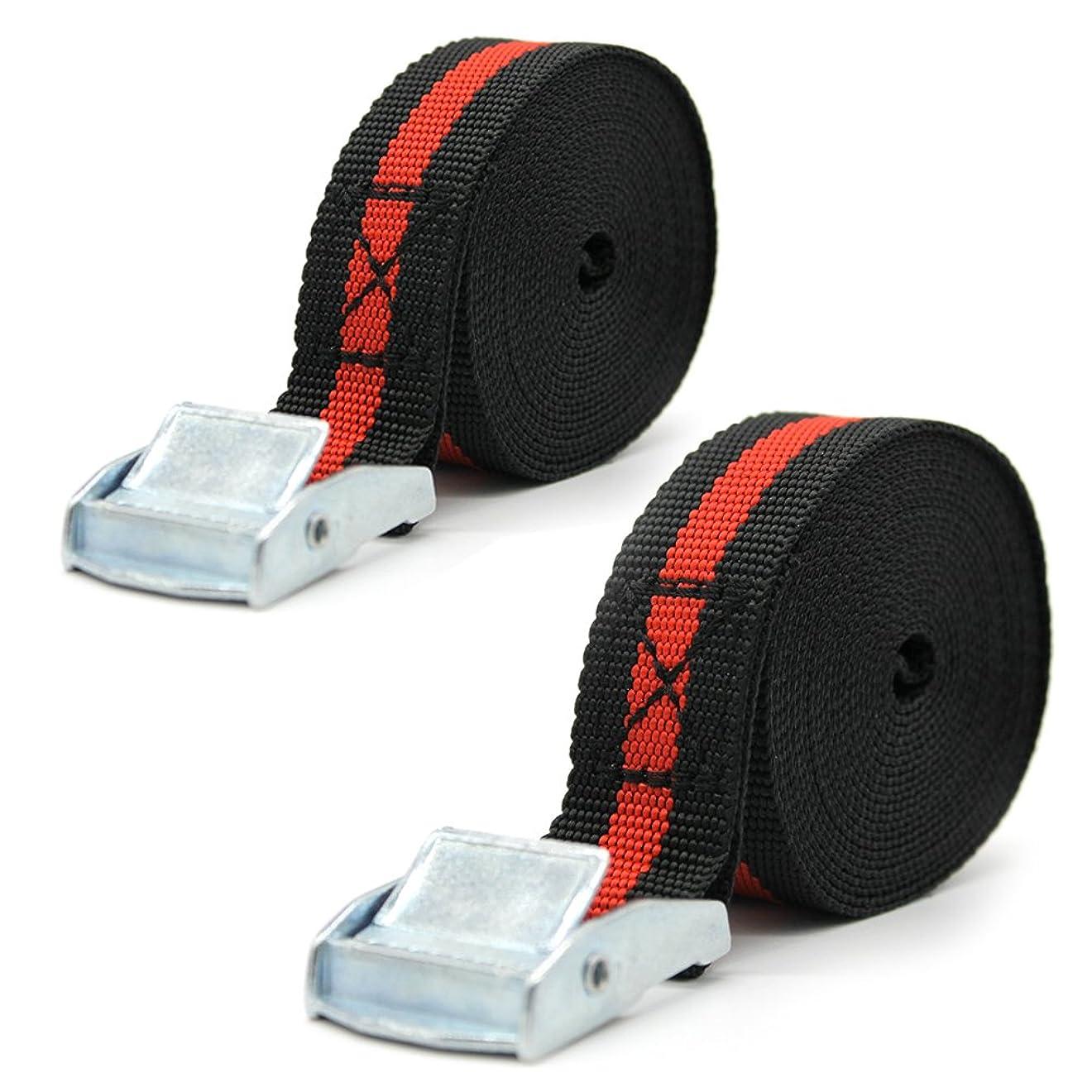 シミュレートする本会議有能なOWSOO 荷締めベルト 荷ベルト 荷締め簡単ロック金具付 2.5m 2本セット