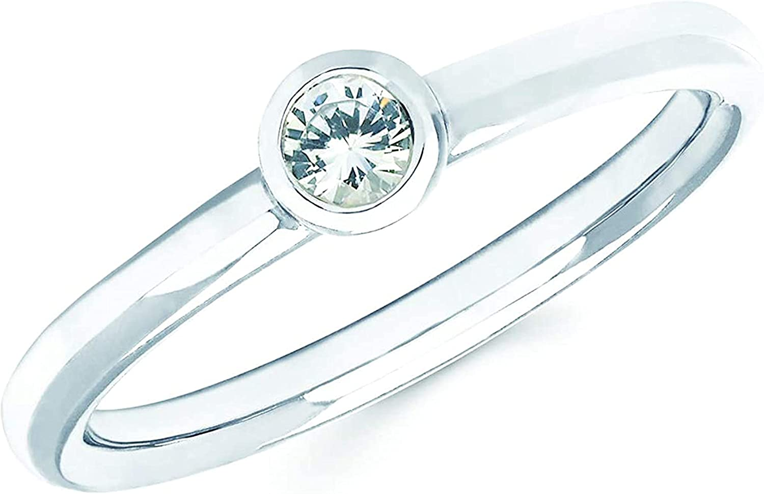 .925 Sterling San Jose Mall Silver or 14K White Round Gold Genuine Bezel G Limited price sale Set
