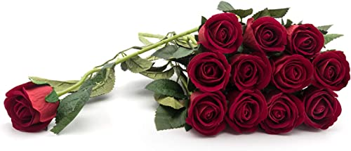 "lowest Artificial outlet sale wholesale Silk Rose Velvet Flower for Bouquets, Weddings, Valentines, Wreaths, Crafts, Single Stem (1 Dozen) 15"" Long, Red outlet online sale"