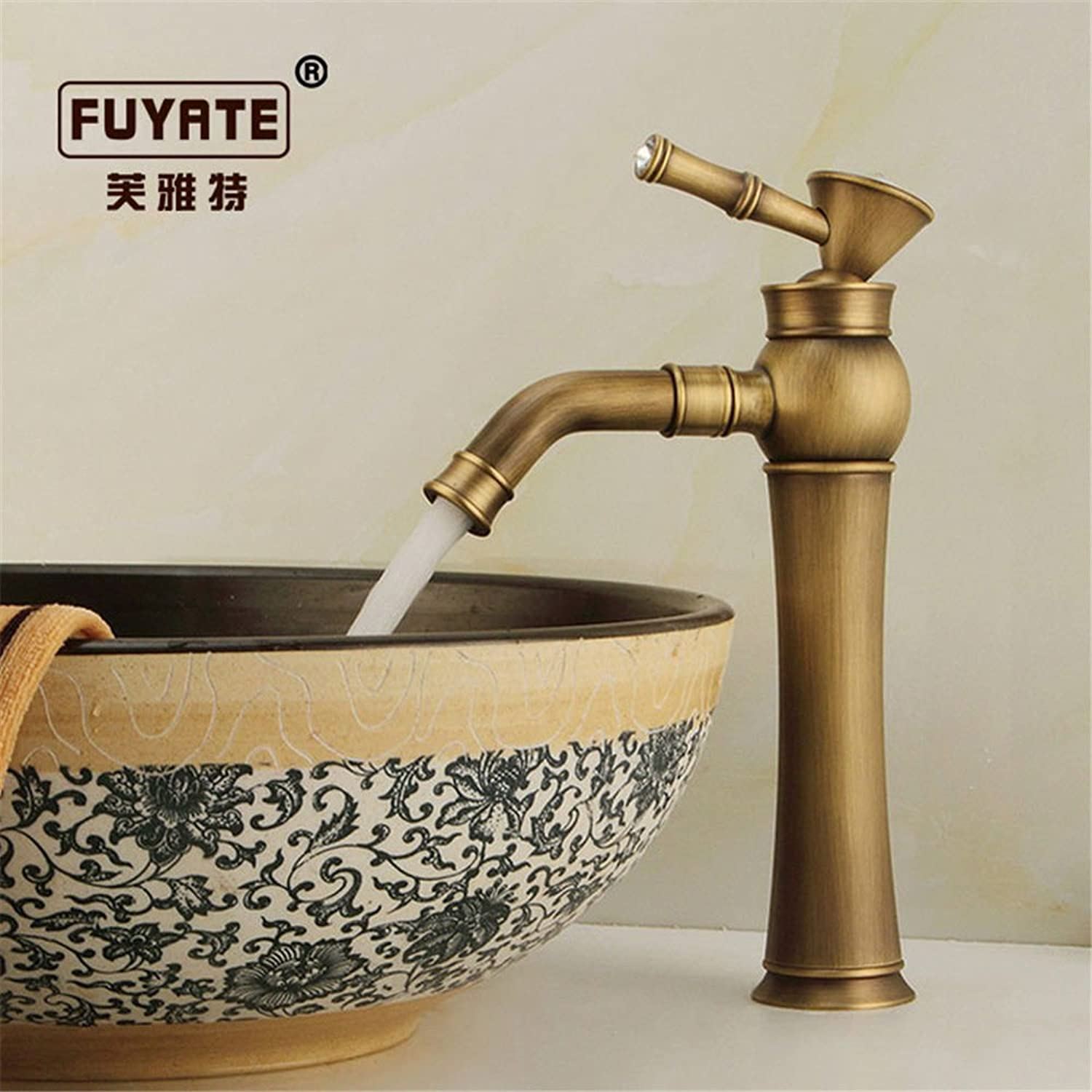 ETERNAL QUALITY Bathroom Sink Basin Tap Brass Mixer Tap Washroom Mixer Faucet The golden faucet hot and cold taps full copper bathroom plus high diamond gold plated antiq