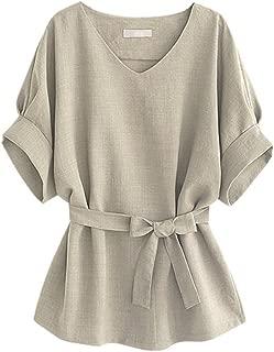 Women's Summer Casual V Neckline Short Sleeve Self Tie Waist Blouse Tops Shirts