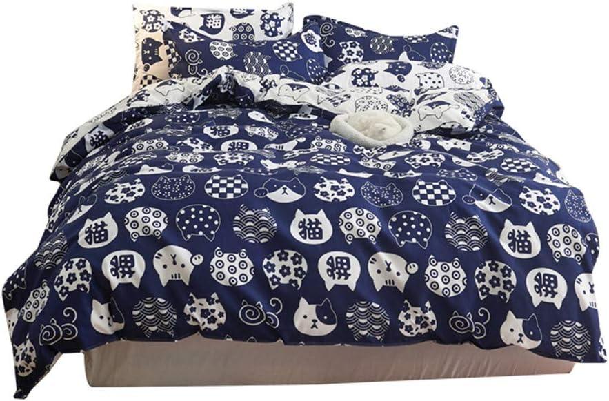 3Pcs 1 Duvet Cover+2 Pillowcase Cartoon Cute Blue cat Bedding C Max 57% OFF Great interest